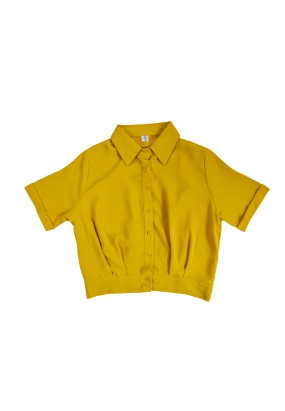 SHORT SLEEVE BUTTON BLOUSE - Yellow
